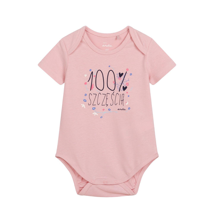 Endo - Body z krótkim rękawem dla dziecka do 2 lat, różowe N04M007_1