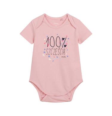 Endo - Body z krótkim rękawem dla dziecka do 2 lat, różowe N04M007_1,1