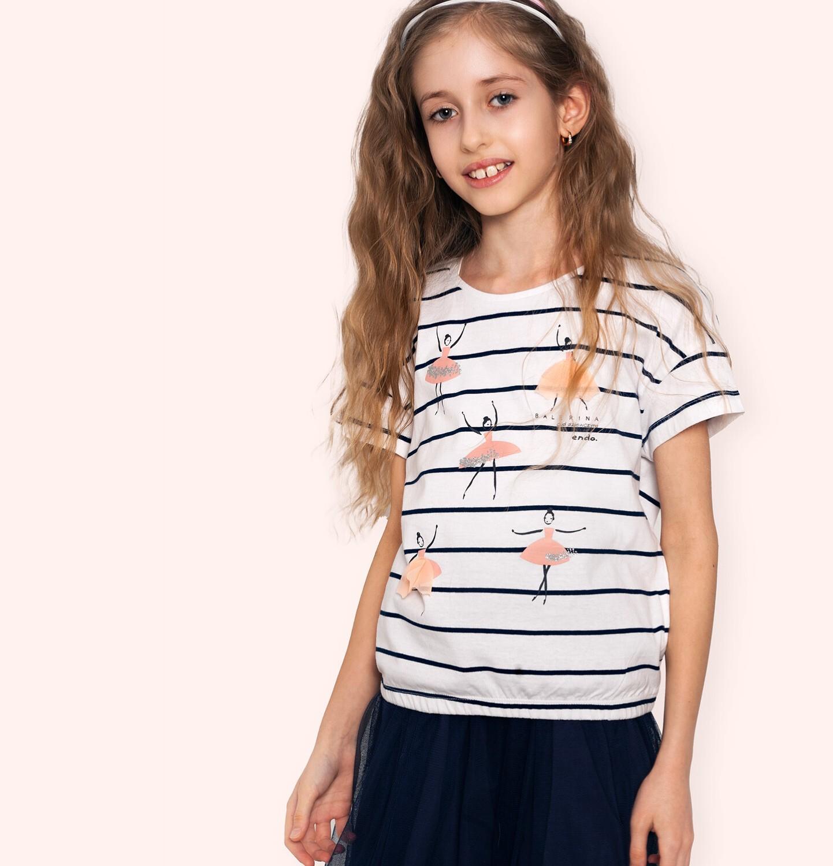 Endo - Bluzka z krótkim rękawem dla dziewczynki, ze ściągaczem u dołu, w paski, 9-13 lat D05G036_1