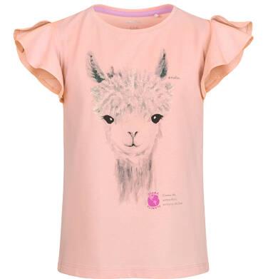 Bluzka z krótkim rękawem dla dziewczynki, z alpaką, pomarańczowa, 2-8 lat D03G106_2