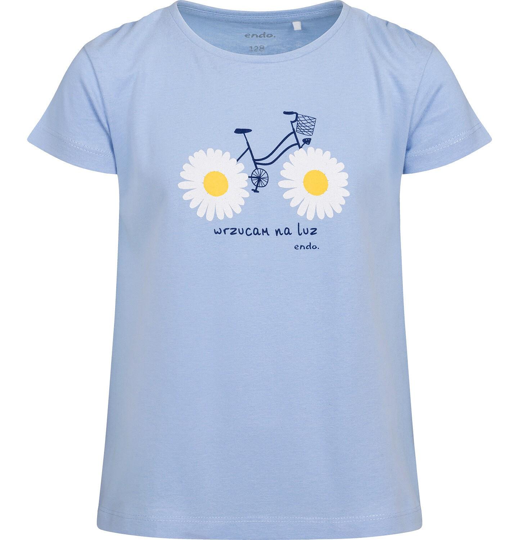 Endo - Bluzka z krótkim rękawem dla dziewczynki, z nadrukiem z rowerem, niebieska, 2-8 lat D05G037_1