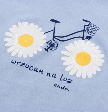 Endo - Bluzka z krótkim rękawem dla dziewczynki, z nadrukiem z rowerem, niebieska, 2-8 lat D05G037_1,2