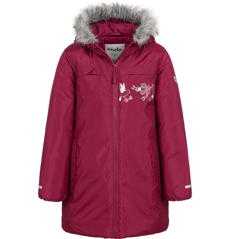 Endo - Długa kurtka zimowa, płaszcz z kapturem, malinowy, 9-13 lat D04A012_2