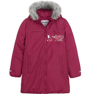 Długa kurtka zimowa, płaszcz z kapturem, malinowy, 9-13 lat D04A012_2