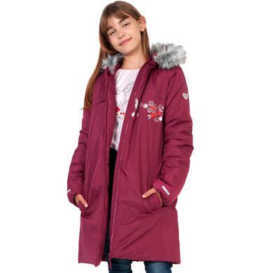 Endo - Długa kurtka zimowa, płaszcz z kapturem, malinowy, 9-13 lat D04A012_2 1
