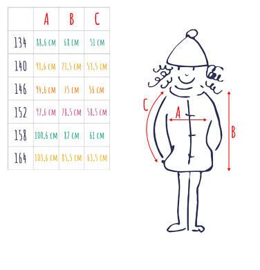 Endo - Długa kurtka zimowa, płaszcz z kapturem, malinowy, 9-13 lat D04A012_2,5