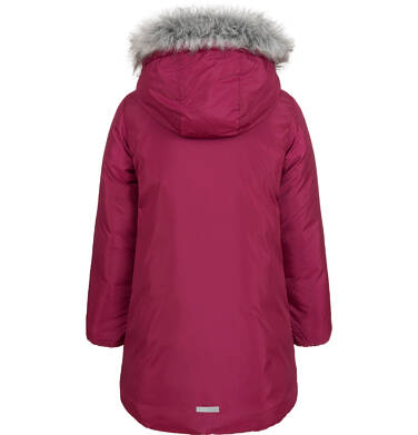 Endo - Długa kurtka zimowa, płaszcz z kapturem, malinowy, 9-13 lat D04A012_2,3