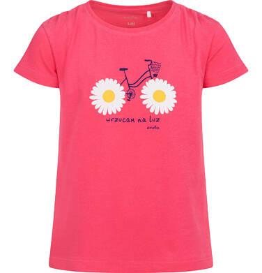 Bluzka z krótkim rękawem dla dziewczynki, z nadrukiem z rowerem, różowa, 2-8 lat D05G037_2