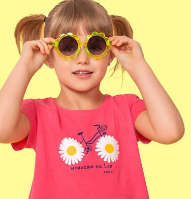 Endo - Bluzka z krótkim rękawem dla dziewczynki, z nadrukiem z rowerem, różowa, 2-8 lat D05G037_2 20