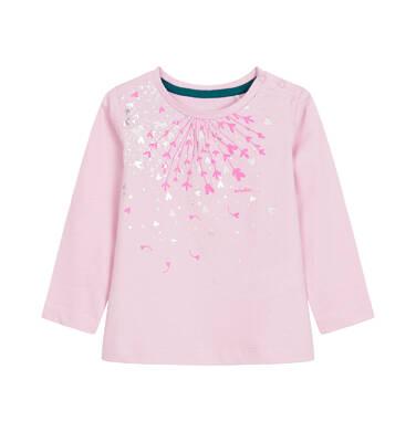 Endo - Bluzka z długim rękawem dla dziecka do 3 lat, różowa N92G100_1