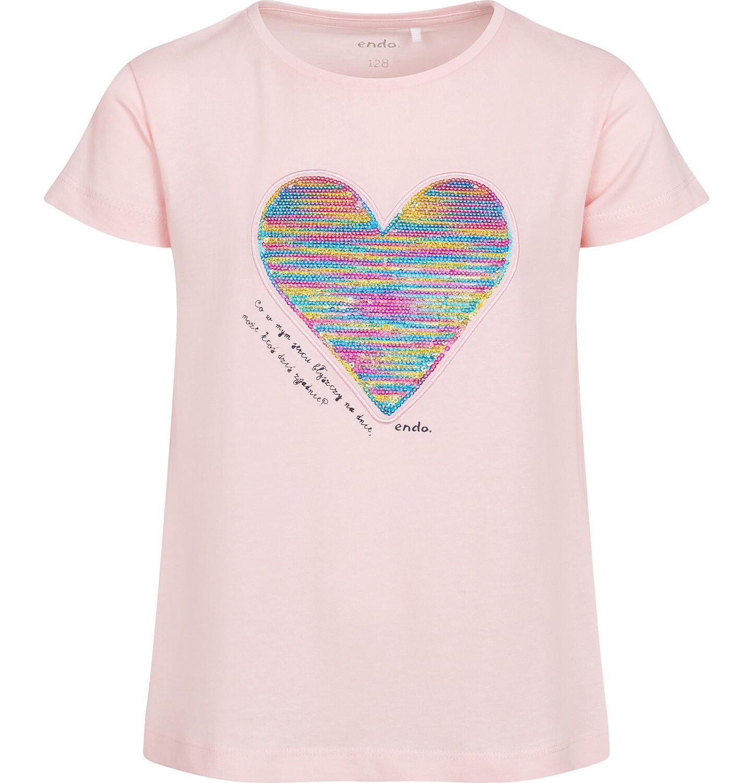 Endo - Bluzka z krótkim rękawem dla dziewczynki, z nadrukiem z serduszkiem, różowa, 2-8 lat D05G050_1