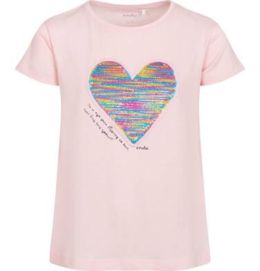 Endo - Bluzka z krótkim rękawem dla dziewczynki, z nadrukiem z serduszkiem, różowa, 2-8 lat D05G050_1 28
