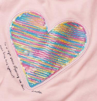 Endo - Bluzka z krótkim rękawem dla dziewczynki, z nadrukiem z serduszkiem, różowa, 2-8 lat D05G050_1,2