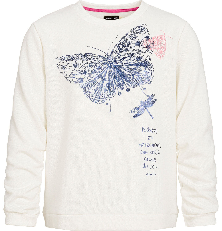 Endo - Bluza dla dziewczynki, z motylem, złamana biel, 3-8 lat D92C027_1
