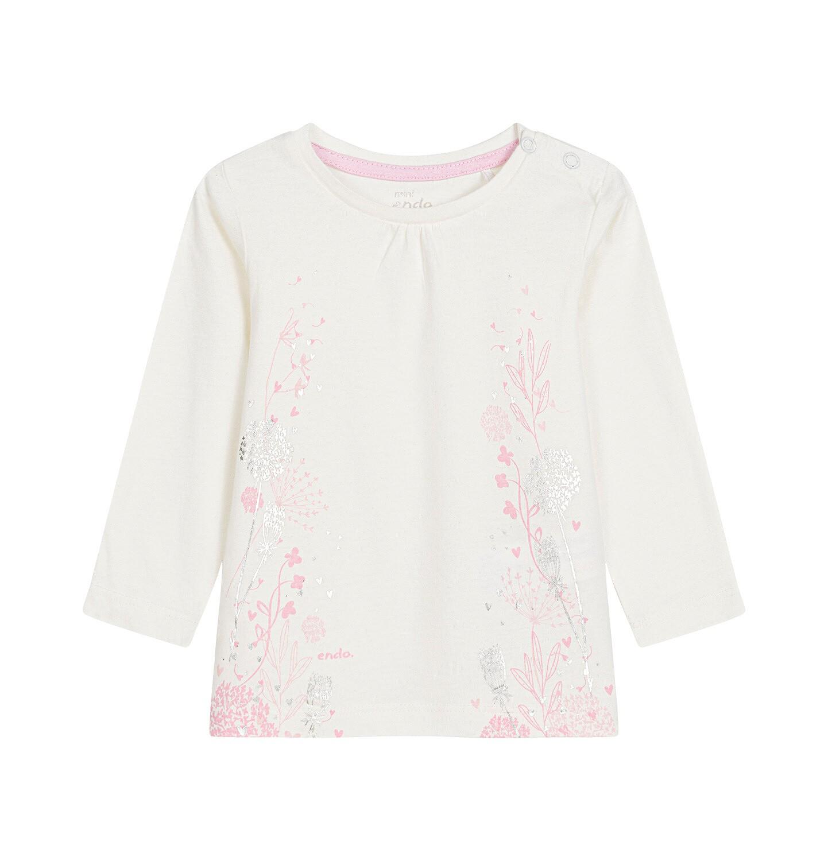 Endo - Bluzka z długim rękawem dla dziecka do 3 lat, złamana biel N92G101_1