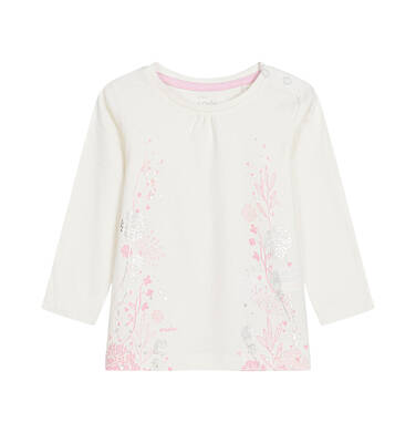 Bluzka z długim rękawem dla dziecka do 3 lat, złamana biel N92G101_1