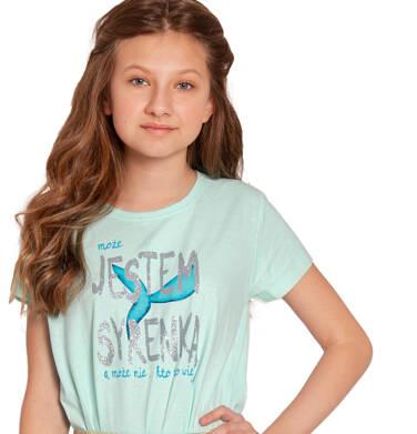 Endo - Bluzka z krótkim rękawem dla dziewczynki, motyw z syrenką, niebieska, 9-13 lat D03G646_1 110
