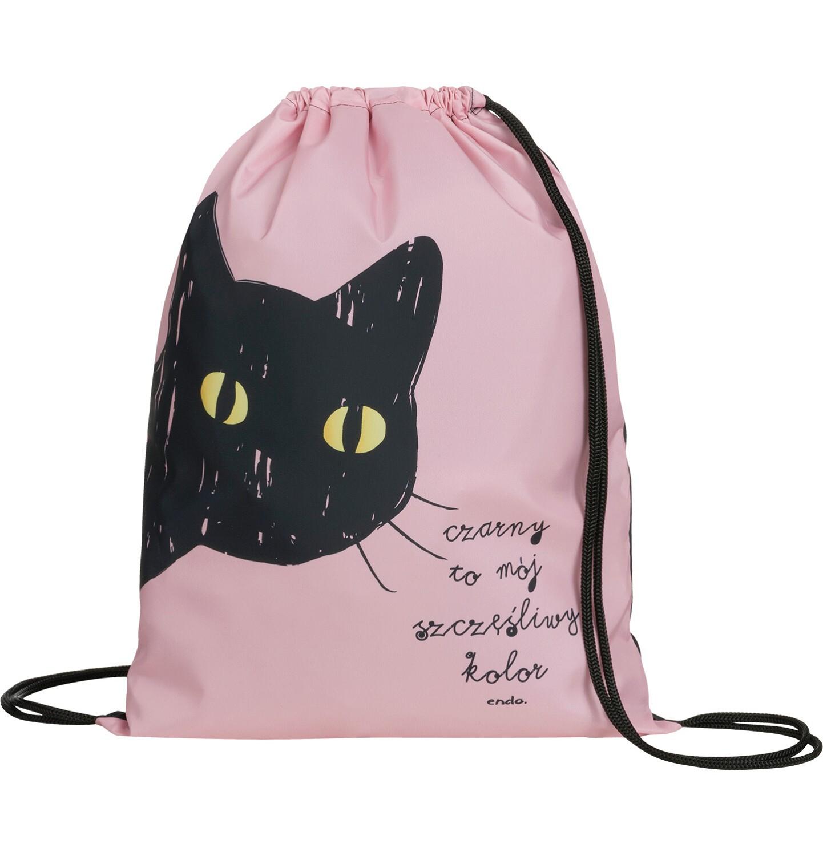Endo - Plecak - worek, z czarnym kotem, różowy SD03G013_1