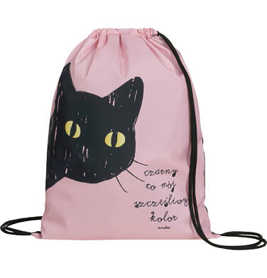Worek-plecak dla dziewczynki, z czarnym kotem, różowy SD03G013_1