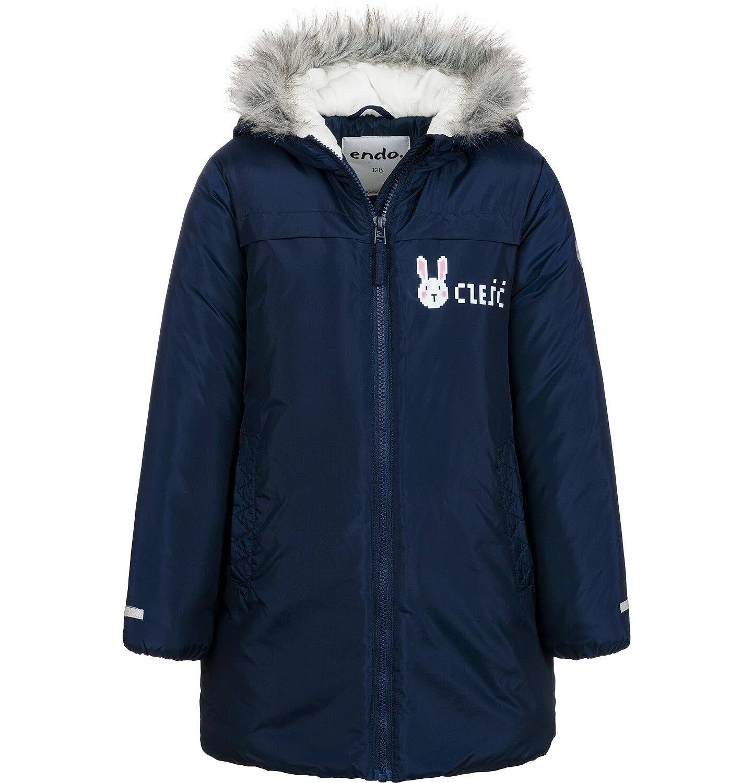 Endo - Długa kurtka zimowa, płaszcz z kapturem, granatowy, 2-8 lat D04A021_1