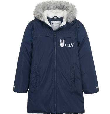 Długa kurtka zimowa, płaszcz z kapturem, granatowy, 2-8 lat D04A021_1