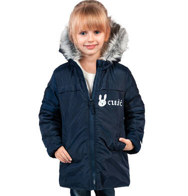 Endo - Długa kurtka zimowa, płaszcz z kapturem, granatowy, 2-8 lat D04A021_1,2