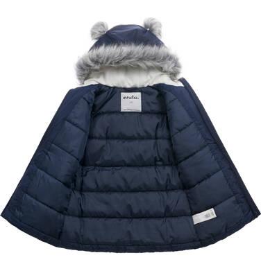 Endo - Długa kurtka zimowa, płaszcz z kapturem, granatowy, 2-8 lat D04A021_1,5