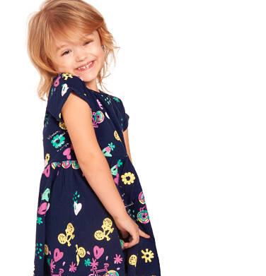 Endo - Sukienka z krótkim rękawem, deseń w rowery, granatowa, 2-8 lat D03H011_1