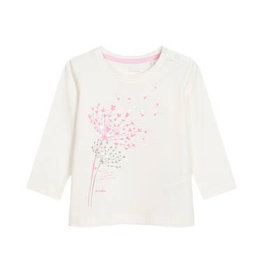Endo - Bluzka z długim rękawem dla dziecka do 3 lat, niech cieszy oczy ten widok uroczy, złamana biel N92G102_1