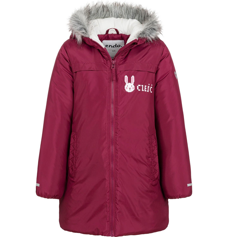 Endo - Długa kurtka zimowa, płaszcz z kapturem, malinowy, 2-8 lat D04A021_2
