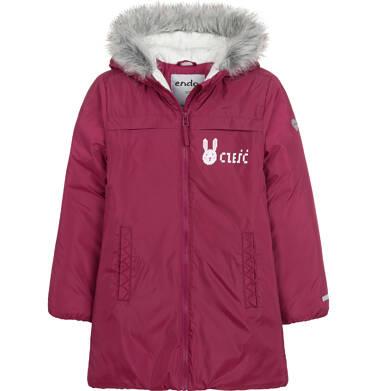 Endo - Długa kurtka zimowa, płaszcz z kapturem, malinowy, 2-8 lat D04A021_2 3