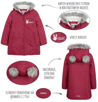 Endo - Długa kurtka zimowa, płaszcz z kapturem, malinowy, 2-8 lat D04A021_2,6