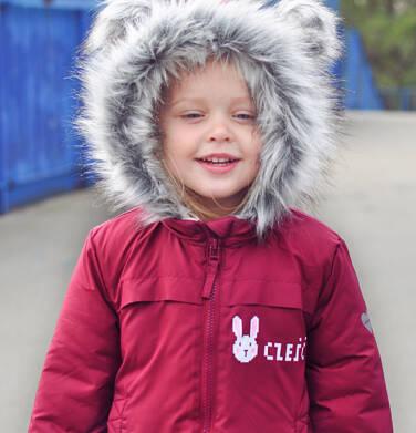 Endo - Długa kurtka zimowa, płaszcz z kapturem, malinowy, 2-8 lat D04A021_2,2