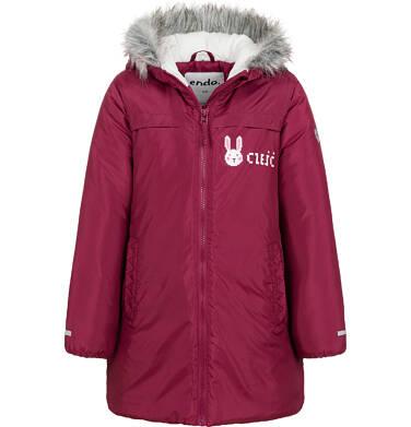 Endo - Długa kurtka zimowa, płaszcz z kapturem, malinowy, 2-8 lat D04A021_2,1