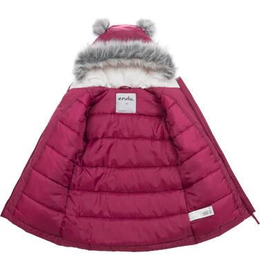 Endo - Długa kurtka zimowa, płaszcz z kapturem, malinowy, 2-8 lat D04A021_2,3
