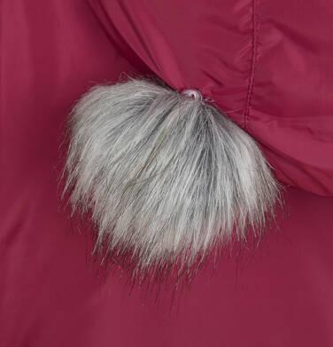 Endo - Długa kurtka zimowa, płaszcz z kapturem, malinowy, 2-8 lat D04A021_2,8