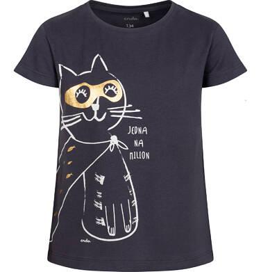 T-shirt z krótkim rękawem dla dziewczynki, z kotem, grafitowy, 9-13 lat D05G078_1