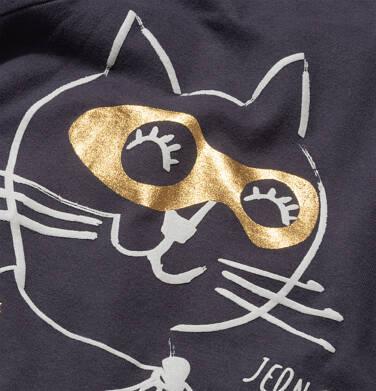Endo - T-shirt z krótkim rękawem dla dziewczynki, z kotem, grafitowy, 9-13 lat D05G078_1,2