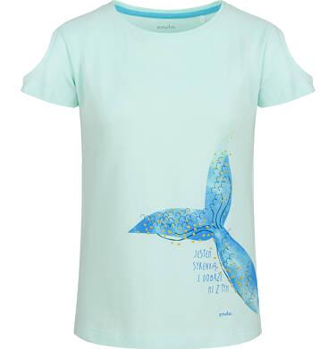 Bluzka z krótkim rękawem dla dziewczynki, z syrenim ogonem, niebieska, 9-13 lat D03G647_2