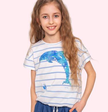 Endo - Bluzka z krótkim rękawem dla dziewczynki, ze ściągaczem u dołu, w paski, 9-13 lat D05G141_1 23