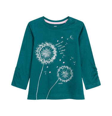 Endo - Bluzka z długim rękawem dla dziecka do 3 lat, obłokami wiatr kolebie, butelkowozielona N92G104_1