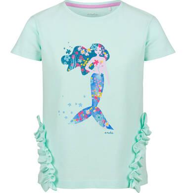 Endo - Bluzka z krótkim rękawem dla dziewczynki, z syrenką i falbankami po bokach, niebieska, 2-8 lat D03G153_1 26