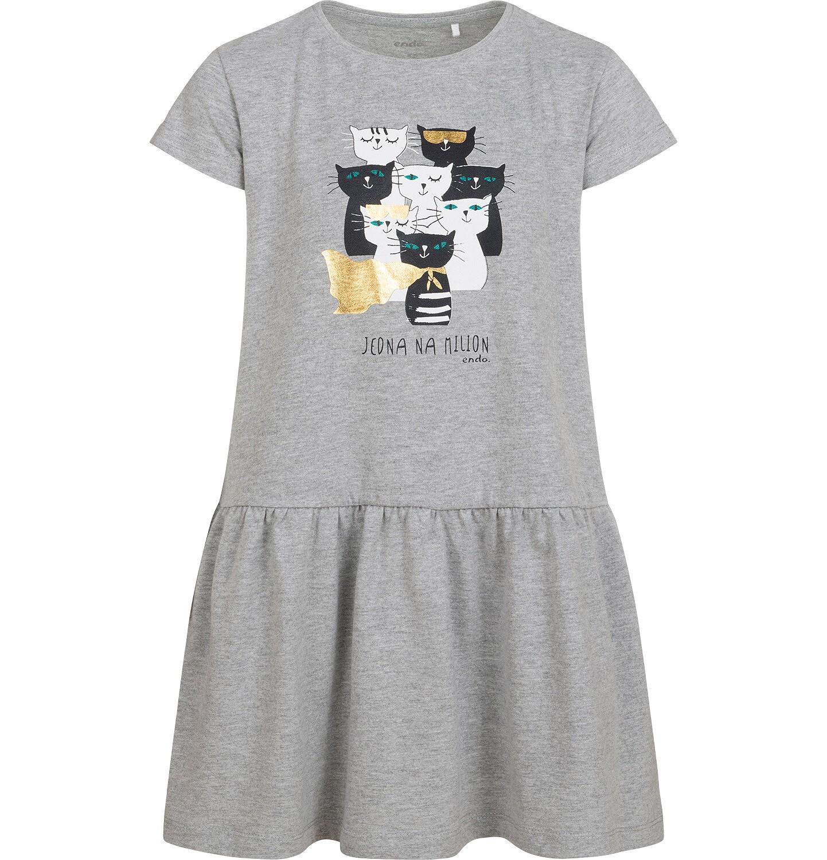 Endo - Sukienka z krótkim rękawem, z kotami, szara, 2-8 lat D05H022_1