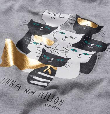 Endo - Sukienka z krótkim rękawem, z kotami, szara, 2-8 lat D05H022_1,3