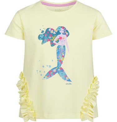 Bluzka z krótkim rękawem dla dziewczynki, z syrenką i falbankami po bokach, żółta, 2-8 lat D03G153_2