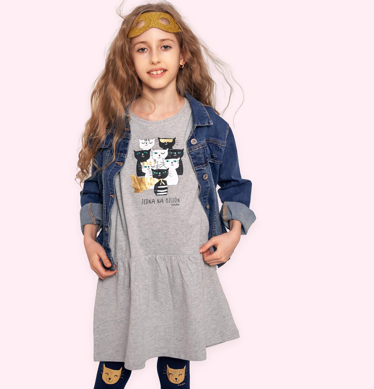 Endo - Sukienka z krótkim rękawem, z kotami, szara, 9-13 lat D05H057_1