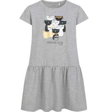 Endo - Sukienka z krótkim rękawem, z kotami, szara, 9-13 lat D05H057_1 1