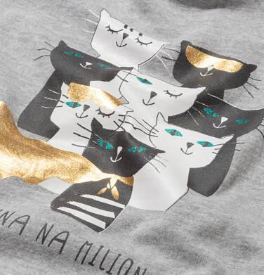 Endo - Sukienka z krótkim rękawem, z kotami, szara, 9-13 lat D05H057_1,2
