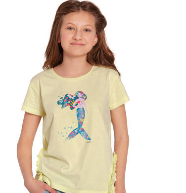 Endo - Bluzka z krótkim rękawem dla dziewczynki, z syrenką i falbankami po bokach, żółta, 9-13 lat D03G653_2 205