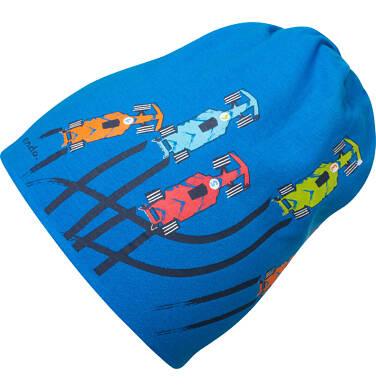 Czapka wiosenna dla dziecka, z samochodami, niebieska C05R008_1